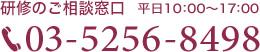 研修のご相談窓口(平日10:00~17:00) 03-5256-8498